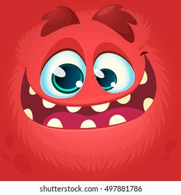 Cartoon monster face. Vector Halloween red monster avatar with wide smile