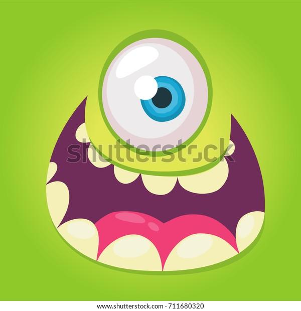 Dessin Visage Halloween.Cartoon Monster Face Vector Halloween Green Stock Vector Royalty Free 711680320