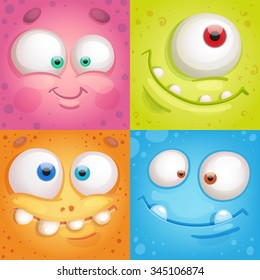 Cartoon monster faces
