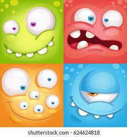 Cartoon monster faces