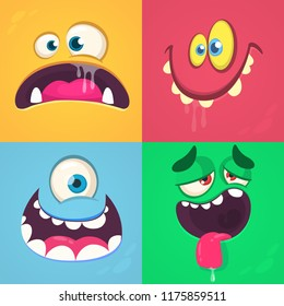 Cartoon monster faces set. Vector set of four Halloween monster faces with different expressions. One eyed alien, smiling devil, scared troll, tired monster