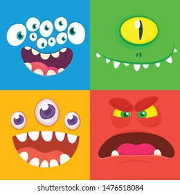 Cartoon monster faces set. Vector set of four Halloween monster faces with different expressions. One eyed alien, funny devil, scary alienl, many eyed monster