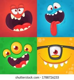Das Kartoon-Monster ist mit Gesichtern besetzt. Vektorgrafik von vier Halloween-Monster-Avataren mit unterschiedlichen Gesichtsausdrücken