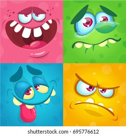 Cartoon monster faces set. Vector set of four Halloween monster faces or avatars. Print design of monsters mask for masquerade
