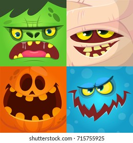Cartoon monster faces vector set. Cute square avatars and icons. Monster, pumpkin face, mummy, zombie