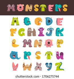 Cartoon monster letter set isolated. Colorful fantasy children English alphabet. Vector illustration of alphabet creatures from A to Z.