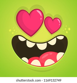 Cartoon Monster In Love with a heart shaped eyes. Monster avatar for St. Valentine's Day. Design for postcard greeting
