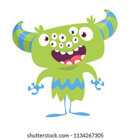 Cartoon monster with many eyes. Vector illustration isolated on white.