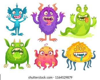Cartoon monster mascot. Halloween funny monsters, bizarre goofy gremlin with horn and silly furry, alien creations. Cartoons fluffy creatures spooky character vector isolated icon illustration set
