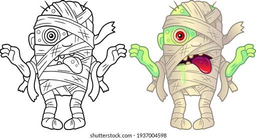 cartoon monster mummy, coloring book, funny illustration