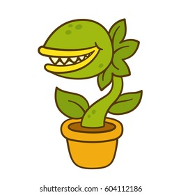 Cartoon monster plant drawing. Evil carnivorous plant with teeth in flower pot. Vector illustration.