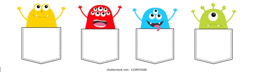 Cartoon monster pocket set. Holding hands up. Colorful silhouette. Cute scary funny character. Happy Halloween. Baby collection. T-shirt design. White background. Flat design. Vector