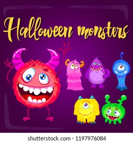 Cartoon monster set. Cute Halloween characters and icons. Cute colorful Halloween characters and icons for print, stickers or party decoration. Monsters designed for highly resizable and printing.