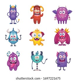 Cartoon monster set with nine isolated characters on blank background with funny doodle style emoticon beasts vector illustration