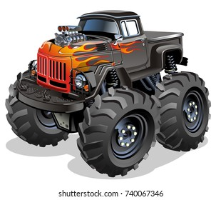 Cartoon Monster Truck. Available EPS-10 vector format separated by groups and layers with transparency effects for one-click repaint.