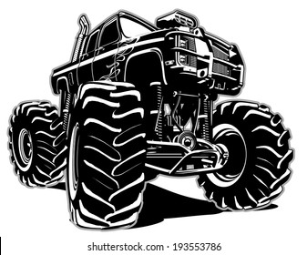 Cartoon Monster Truck. Eps-8 separated by groups and layers for easy edit