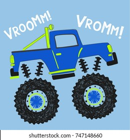 cartoon monster truck illustration for kids, vector, typography