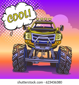 Cartoon Monster Truck in Pop Art style. Extreme Sports. Retro vector illustration. 4x4. Vehicle SUV Off Road. Can be printed on T-shirts, bags, posters, invitations, cards.