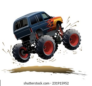 Cartoon Monster Truck. Vector EPS-10 with transparency effects for one-click repaint