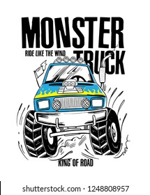 Cartoon Monster Truck. Vector illustration for t-shirt prints, posters and other uses.