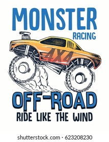 Cartoon Monster Truck. Vector illustration for kids t shirt and other uses