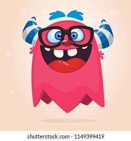 Cartoon monster wearing eyeglasses. Vector illustration for Halloween. Design for  party decoration, sticker print