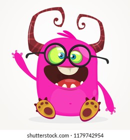 Cartoon monster wearing eyeglasses. Vector illustration for Halloween. Design for  party decoration, sticker, print, package