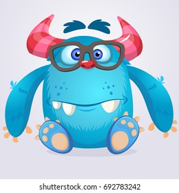 Cartoon monster wearing glasses. Vector illustration of smart monster. Children party decoration or print design
