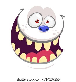 Cartoon monster yeti face isolated on white. Vector Halloween white happy monster square avatar. Troll or goblin face cartoon