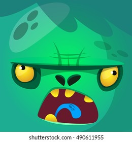 Cartoon monster zombie face vector icon. Cute square avatars for Halloween