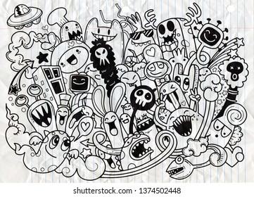 Doodle Illustration Cute Monsters On Beachdrawing Stock