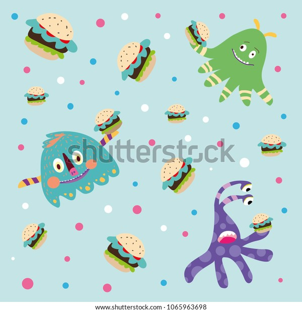 Cartoon Monsters Eating Burgers On Blue Stock Vector Royalty Free 1065963698