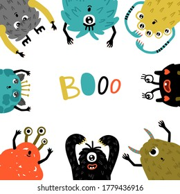 Cartoon monsters frame. Mascot humor characters round template, little funny furry symbols of horror, cute creatures with fun faces for party invitations