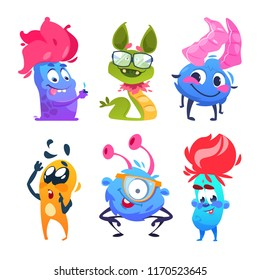 Cartoon monsters. Halloween gremlins. Funny vector monster characters. Monster and alien, happy cute mascot creature for halloween illustration