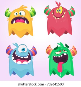 Cartoon Monsters set for Halloween. Vector set of cartoon monsters isolated. Design for print, party decoration, t-shirt, illustration, logo, emblem or sticker