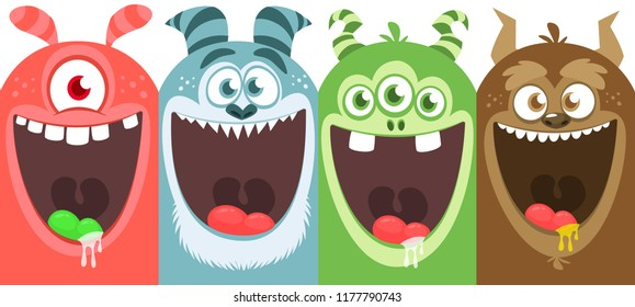 Cartoon monsters set. Vector illustration of different monsters expressions. Halloween. Package design