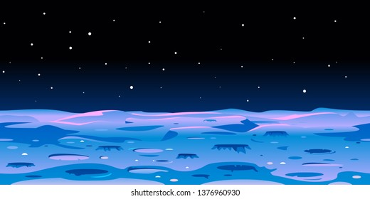 Cartoon Moon landscape with craters on space with stars, fantastic planet surface illustration