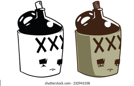 Cartoon Moonshine Jug  - Vector clip art illustration on white background