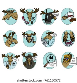 cartoon moose set on blue background/ detective concept