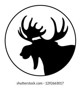 cartoon  moose ,vector illustration , black silhouette ,profile view
