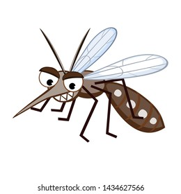 Cartoon Mosquito Aedes Aegypti in white background