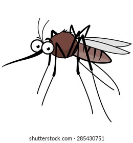 Cartoon mosquito character. Vector illustration