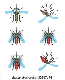 Cartoon mosquito flies. Cartoon mosquito sits. Cartoon mosquito dead.