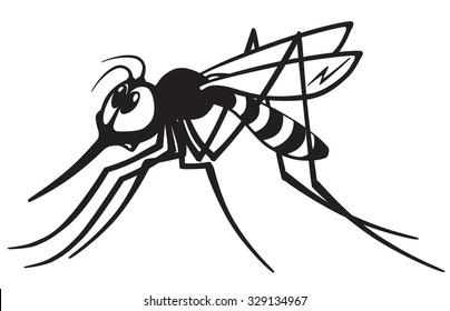 cartoon mosquito gnat .Black and white image