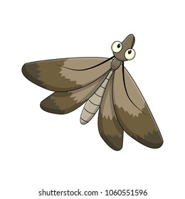 Cartoon moth insect isolated on white background