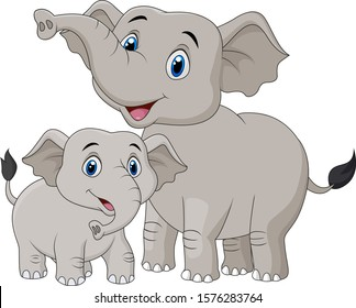 Cartoon Mother and baby elephant