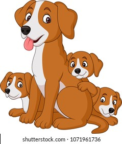 Cartoon mother dog with her cute puppies