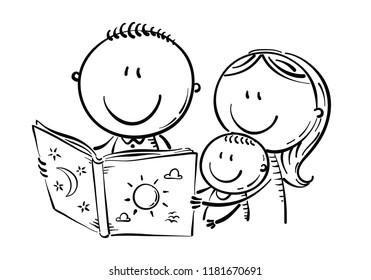 Cartoon mother, father and son reading a book together, outline