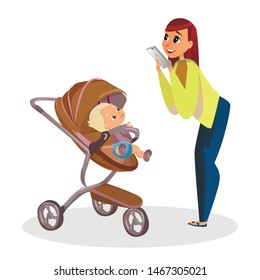 Cartoon Mother Make Picture of Son with Mobile Phone Vector Illustration. Smartphone Photo. Newborn in Stroller. Little Boy in Pram Perambulator. Three Wheel Pushchair. Woman Motherhood