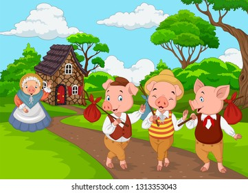 Cartoon mother pig with three little pigs